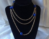 Vintage Sarah Cov Blue Swirl + Gold Metal Chain Necklace