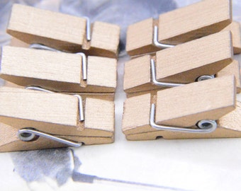 Gold tone wood clips, wood clothpin, solid wood cloth clips,small wooden clothes pins with springs 20 pieces 12x35x16mm