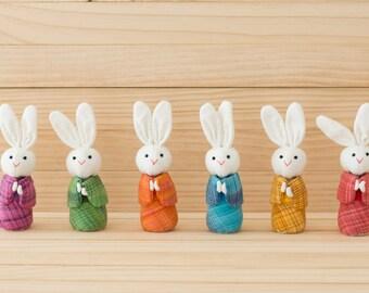 Set of 6 Kimono Bunny dolls