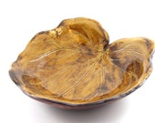 Amber Leaf Bowl with Wood Grain Textured Underside