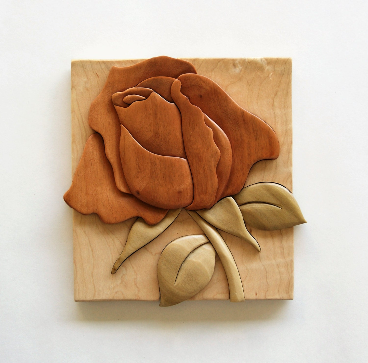 Rose intarsia wall hanging wood flower carving floral decor