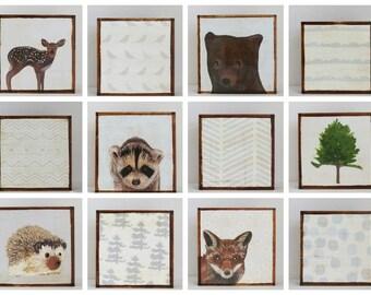 woodland nursery decor - twelve set of 5x5 art blocks- forest woodland nursery art, animal prints, geometric prints, redtilestudio