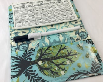 Duplicate Checkbook Cover with Pen Holder Duplicate Checkbook Register - Fabric Checkbook Cover Tula Pink Tree of Life in Pool Blue