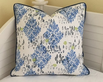 Lacefield Designs Sedona in Pacific  Designer Pillow Cover with Piping - Square, Lumbar, Shams, Body and Euro Sizes