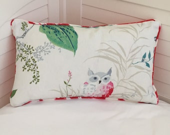 KATE SPADE Owlish in Multi and Leokat in Maraschino Designer Lumbar Pillow Cover with Piping