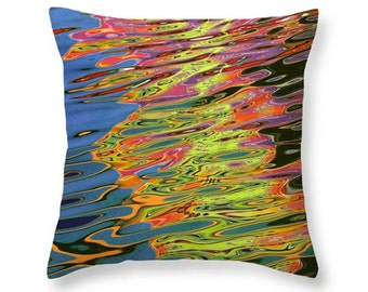 Colorful Abstract Light Reflections on the Water No.0101 nature photography decorative novelty throw pillow Home Décor cushion cover