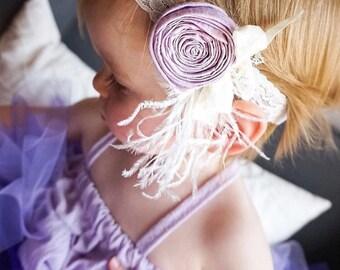 Lavender rosette headband