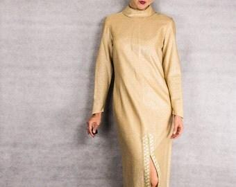 60s Gold Metallic Elegant Maxi Dress///Size S-M