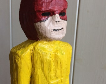 Hand-made, Carved wooden SUPER HERO. Made from driftwood and painted with acrylic.