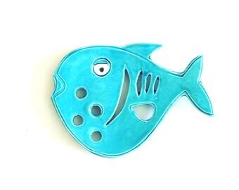 Blue fish Ceramic Soap Dish - Fish Soap Dish for Beach Bath - Fish Bath Soap Dish - Primitive Soap Dish -  Ocean Soap Dish - Fish Decor