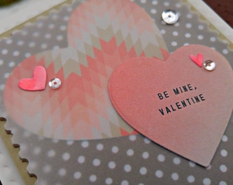 Be Mine Valentine Handmade Greeting Card in Coral and Brown