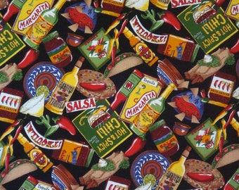 Colorful Mexican Foods Print on Black Pure Cotton Fabric--By the Yard