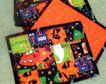 "Mug Rug ~ 10"" x 8"" ~ Candle Mat ~ Snack Mat ~ Halloween ~ Set of 4 ~ Reversible ~ Machine Quilted ~ Patchwork Halloween Mug Rugs"