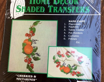 Fruit Vintage Home Decor Shaded Transfers, Cherries and Nectarines, by Hobby Kraft - retro fabric transfers, hand paint, iron on tranfers