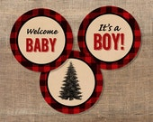 Lumberjack Cupcake Toppers, Baby Boy Shower, It's a Boy, Welcome Baby, Red Flannel, DIY Printable, INSTANT DOWNLOAD