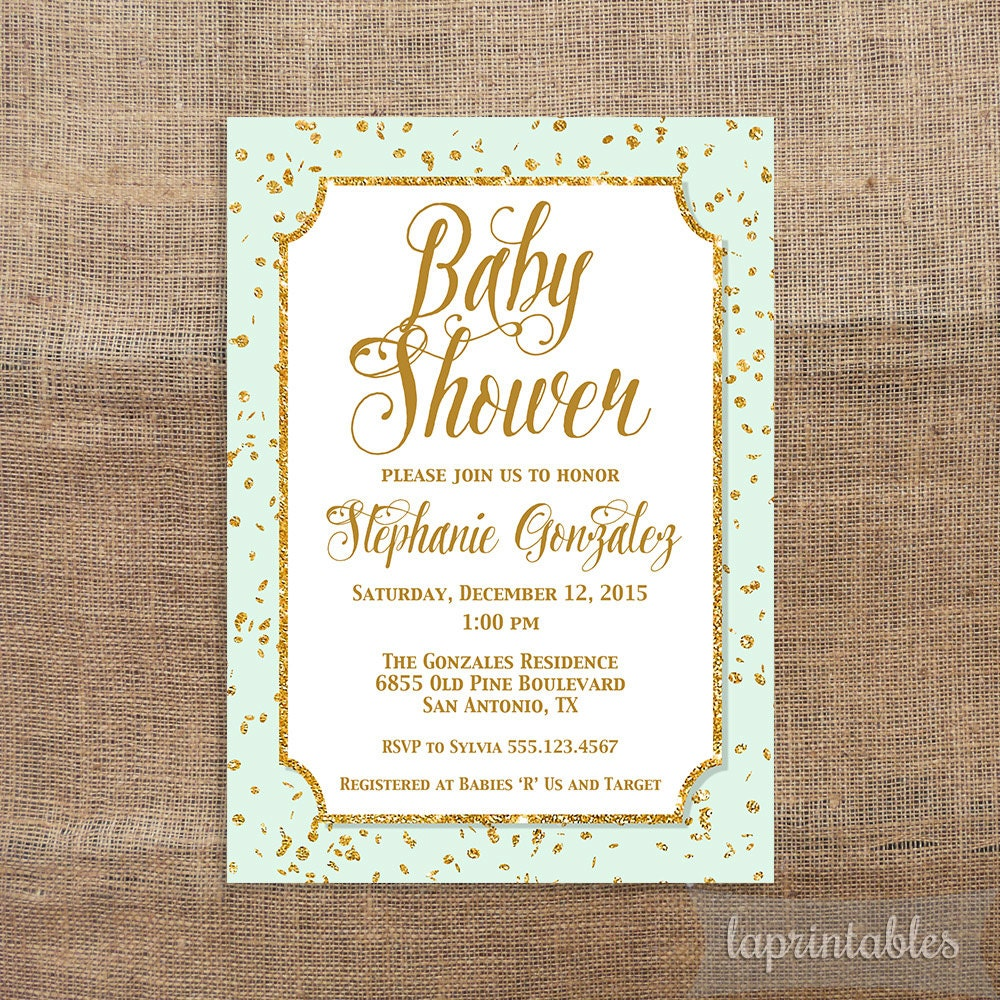 mint green and gold baby shower invitation gold by laprintables