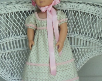Historical Regency Era Empire Doll Dress and Bonnet Handmade to Fit American Girl and Other 18 Inch Dolls Jane Austin Style