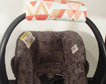 Infant Car Seat Handle Cover - Car Seat ARM PAD - Reversible - Geo Metric Pastels and Gold