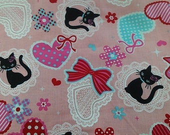 """Sweet sweet cats - 1 yard - cotton - 3 colors  ,sewing ,fabric, cat, Check out with code """"5YEAR"""" to save 20% off"""