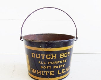 DUTCH BOY Pail, Soft  Lead Paste Bucket, Vintage Advertising