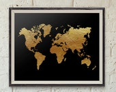 Printable Wall Art, Black and Gold World Map, 10x8 in, Faux Gold Foil, Dorm Art, Apartment Decor, Classroom Art, Home Decor, Black and Gold