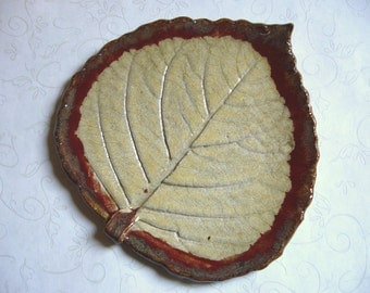 Butterscotch Pottery Leaf Dish or Spoon Rest