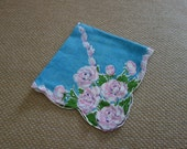 Rare Deep teal hankie with pink and white bouquets in each corner connected diagonally with leaves
