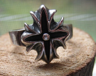 Vintage Highlander Sterling Silver Men's Ring with Cross Design Size 9  Celtic