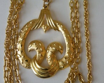 Four strand gold plated chains pendant necklace