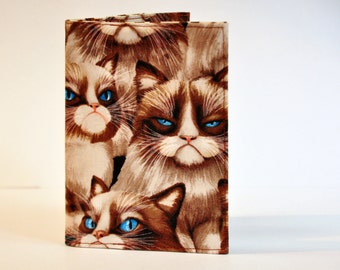 Passport Cover Sleeve holder Cat lover Grumpy cat 'Have grump will travel'..