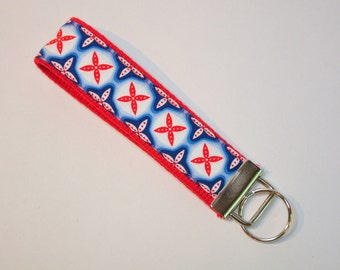 Key fob Keyfob wristlet  Key chain Bright blue and red  Fabric   Great stocking stuffer Under 10