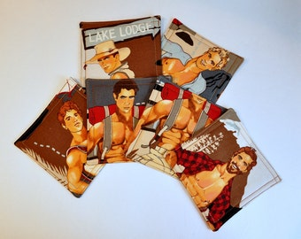 Coasters Fabric Set of 6  Rugged Outdoor Hunks Shirtless Hot sexy guys Reversible
