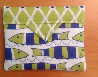 "Blue and Green Fish Quilted Fabric Mini Snap Bag Purse Handbag 5"" X 4"""