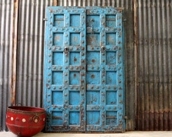 Sliding Door Antique Indian Door Moroccan Decor Set Teak Wood Blue Haveli Doors Global Influenced Decor Indian Furniture Moorish Moroccan