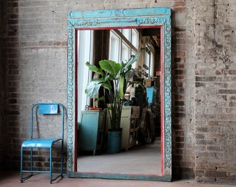 Floor Mirror Antique Indian Architectural Elements Jodhpur Blue and Red Boho Global Indian Full Length Mirror Moroccan Mirror Mediterranean