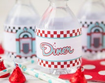 Sock Hop Party Decor - Sock Hop Water Bottle Labels - Sock Hop Drink Labels - 1950's Party Favors - Sock Hop Birthday / 1950's Birthday