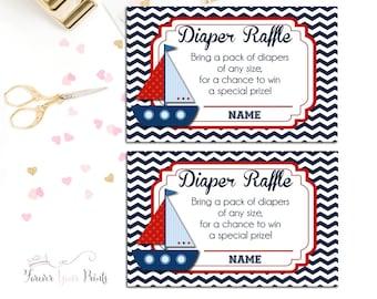 Baby Shower Diaper Raffle Tickets, Nautical Baby Shower, Gender Neutral Baby Shower, Nautical Diaper Raffle, Baby Shower Games, Sailboat