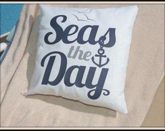 Anchor Seas the Day, Nautical Beach Decor Pillow, Ocean Decor Pillow, Seize the Day, Coastal Living Decor, Beach home decor, coast decor
