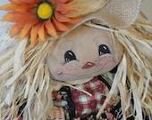 Girl Scarecrow Fall harvest doll cloth art doll