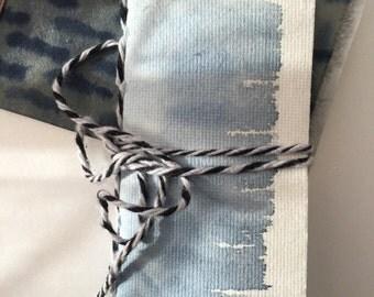 Small Handmade Token Rectangle Journal Watercolor Blue White