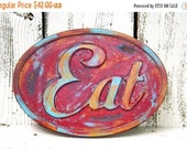 ON SALE EAT Sign~Red Eat Sign~Rustic Eat Sign~Rustic Wall Sign~Farmhouse Kitchen~Shabby Chic Kitchen Sign~Wood Eat Sign
