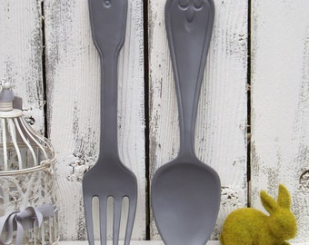 Fork And Spoon Kitchen Wall Decor,Rustic Wall Decor,Shabby Chic Kitchen ,Rustic