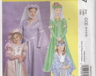 Princess Costume Pattern Crown Halloween Dress Up Uncut Girls Size 3 - 6 McCalls 5207