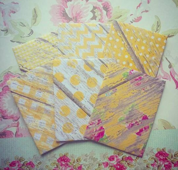 6 Shabby Chic Yellow envelopes, Stationery, Letters, Pocket Letter, Scrapbooking, Cardmaking, Supplies, DIY, Notes