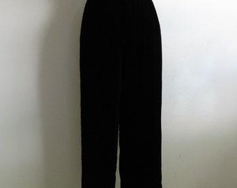 Vintage 80s Black Velvet Pants MATSUDA 1980s Tuxedo Evening Dress Slacks Small