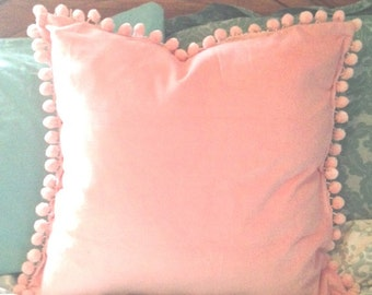 Pink Velvet Pillow Cover with Pink Pom Pom Ball Trim