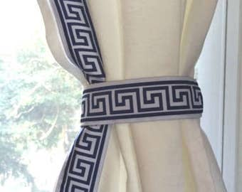 Navy Blue and White Trim Greek Key Curtain