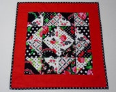 Cottage Chic Quilted Table Topper, Quilted Table Runner, Black White Red, Retro Florals by Michael Miller Fabrics
