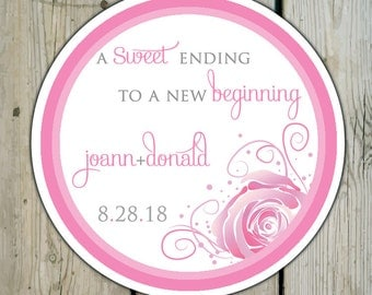 Round Custom Rose Favor Labels / Stickers - Rose Wedding Favor Stickers / Shower Labels / Birthday - Summer Wedding - Pink or Red Roses