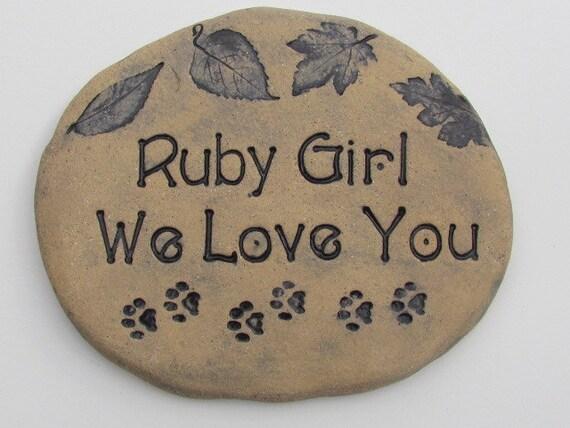 """Personalized Pet memorial, Grave stone. Outdoor grave marker for PETS, Custom Name, wording. Heavy Ceramic brick. Engraved paws. 10"""" wide"""